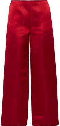 The Row Strom Silk-satin Wide-leg Pants - Burgundy