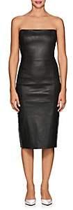 Area Women's Embellished Leather Strapless Dress - Black