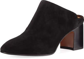 Aquatalia Elisabetta Leather Block-Heel Mule