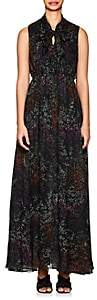 Co Women's Micro-Floral Pleated Silk Chiffon Dress - Black