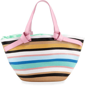 Emilio Pucci Striped Beach Tote Bag with Leather Straps