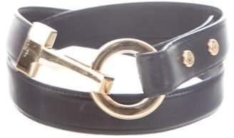 St. John Leather Clasp Waist Belt Black Leather Clasp Waist Belt