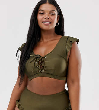 Peek & Beau Curve Exclusive flutter sleeve crop bikini top with lace up in dark olive