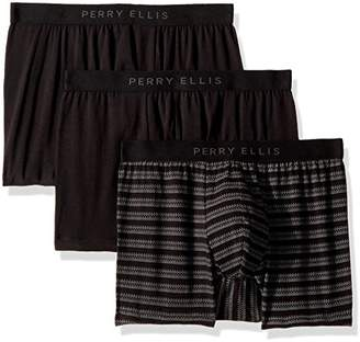 Perry Ellis Men's Portfolio 3 PK Birds Eye Stripe Cotton Stretch Boxer Briefs