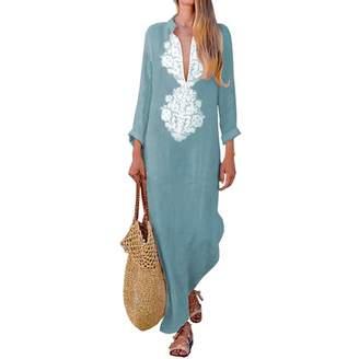f4856dd013 ilovgirl Women s Floral Printed Cotton Linen Long Sleeve Solid Loose V  Neckline Boho Long Dress Kaftan