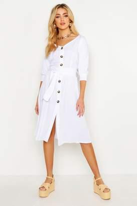 boohoo Button Through Belted Shirt Midi Dress