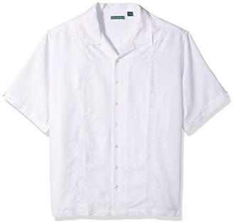 Cubavera Men's Big Short Sleeve Rayon-Blend Solid Cuban Camp Shirt with Pocket