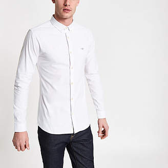 River Island Mens White button-down collar muscle fit shirt