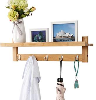 Scandinavian LANGRIA Wall-Mounted Coat Hook Bamboo Wooden Coat Rack and Hook Rack with 5 Metal Hooks and Upper Shelf for Storage Style for Hallway Bathroom Living Room Bedroom