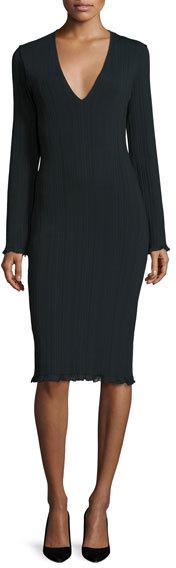 Calvin KleinCalvin Klein Long-Sleeve Ribbed Sheath Dress, Forest Green