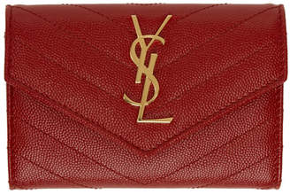 Saint Laurent Red Small Monogramme Envelope Wallet
