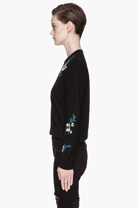 Christopher Kane Black cashmere floral Embroidered Sweater