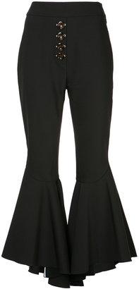 high-rise ruffled trousers