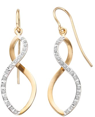 Mystique Diamond Sterling Silver Infinity Drop Earrings