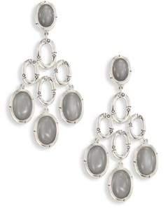 John Hardy Bamboo Grey Moonstone& Sterling Silver Chandelier Earrings