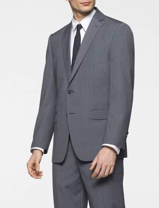 Calvin Klein body slim fit grey plaid suit jacket
