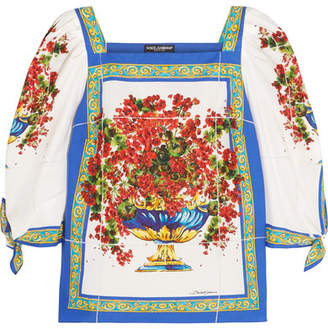 Dolce & Gabbana - Printed Cotton-poplin Top - Red $675 thestylecure.com