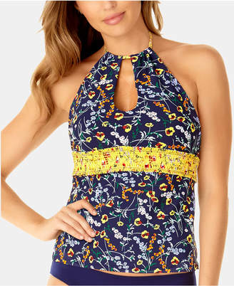 19bc8d24ea837 Anne Cole Studio Wildflower Ditsy Printed Smocked High-Neck Tankini Top  Women Swimsuit