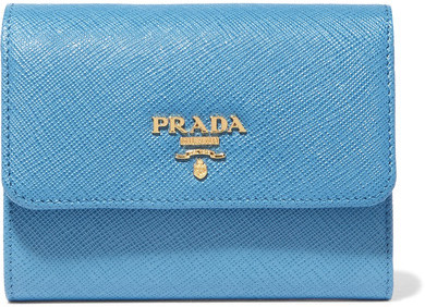 prada Prada - Textured-leather Wallet - Light blue