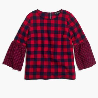 J.Crew Flannel bell-sleeve top