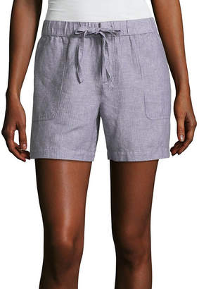 Liz Claiborne 5 Linen Pull-On Shorts