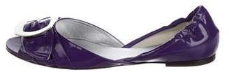 Roger Vivier Patent Leather Peep-Toe Flats