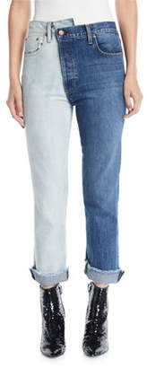 Alice + Olivia JEANS Amazing Two-Tone High-Rise Boyfriend Jeans