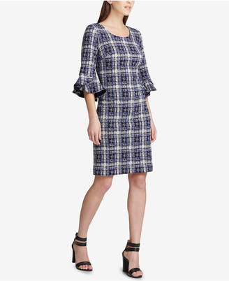 DKNY Plaid Tweed Bell-Sleeve Dress