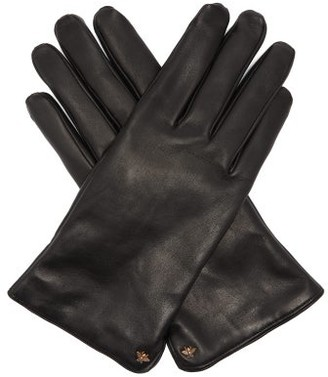 Gucci Bee Motif Leather Gloves - Mens - Black