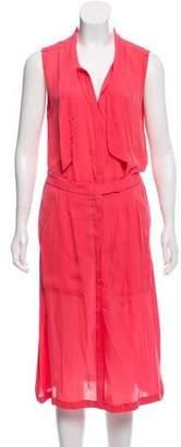 A.L.C. Silk Sleeveless Button-Up Midi Dress