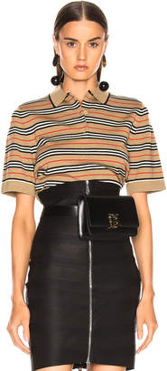 Burberry Stripe Polo Top in Camel | FWRD