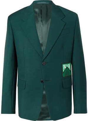 Prada Bottle-Green Slim-Fit Logo-Appliqued Mohair And Wool-Blend Blazer