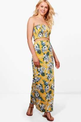 boohoo Abbie Bandeau & Print Maxi Skirt Co-ord