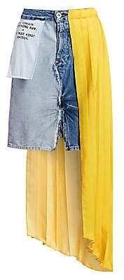 Unravel Project Women's Denim Hybrid Plissé Skirt