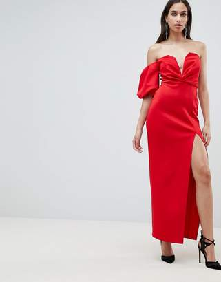 c7dd64dc51 Asos Design DESIGN scuba one shoulder balloon sleeve deep plunge maxi dress