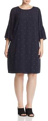 Vince Camuto Plus Dotted Flutter-Sleeve Shift Dress