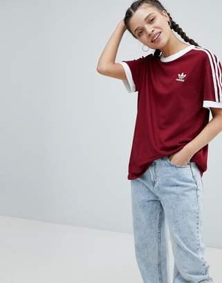 adidas adicolor Three Stripe T-Shirt In Burgundy