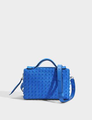 Tod's Don Bauletto Mini Gommino Bag in Bluette Crosta Coco Suede