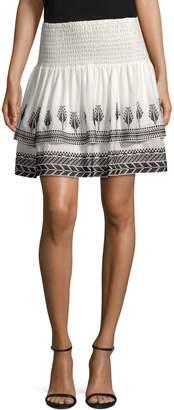 Kobi Halperin Geonna Feather Embroidery Silk Mini Skirt