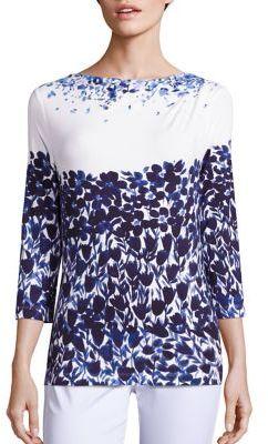 St. John Blue Jasmine Floral Top $295 thestylecure.com