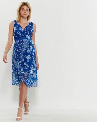 DKNY Floral Faux Wrap Dress