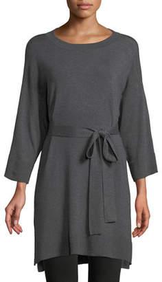 Eileen Fisher 3/4-Sleeve Cozy Stretch Tencel Tunic w/ Belt, Plus Size