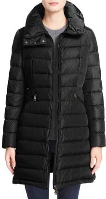 Women's Moncler 'Flammette' Water Resistant Long Hooded Down Coat $1,300 thestylecure.com