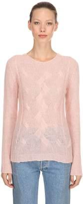 Crewneck Mohair Blend Knit Sweater