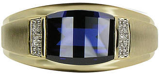 JCPenney FINE JEWELRY Mens Lab-Created Blue Sapphire & Diamond-Accent 10K Yellow Gold Ring