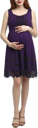 Kimi and Kai Savana Lace Trim Maternity Skater Dress