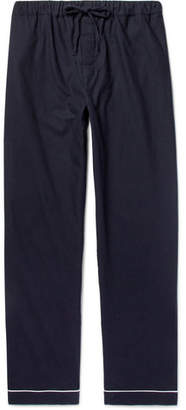Desmond & Dempsey - Brushed-Cotton Twill Pyjama Trousers - Men - Navy