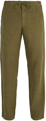 120% Lino 120 LINO Drawstring-waist straight-leg linen trousers