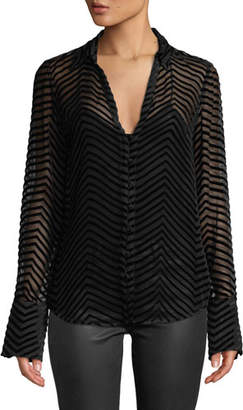 Paige Toscani Velvet-Stripe Sheer Button-Front Top