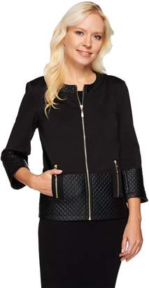 Dennis Basso Ponte Cropped Jacket with Quilted Faux Leather Trim